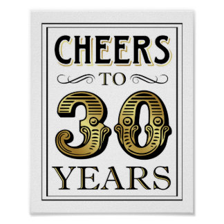 Vintage Gold Party CHEERS TO 30 YEARS Sign Print