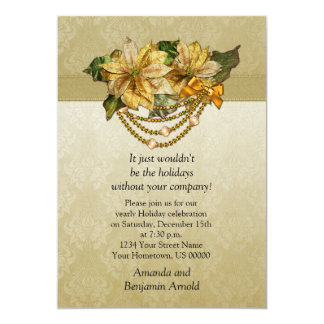 Vintage Gold Poinsettias Holiday Invitation