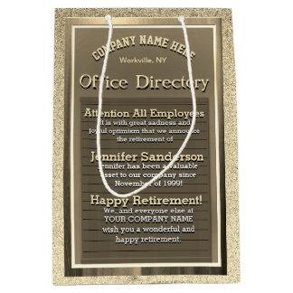 Vintage Gold Retirement Sign Medium Gift Bag