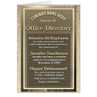 Vintage Gold Retirement Sign - Office Humor Card
