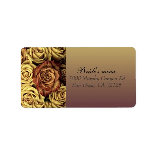 Vintage Gold Roses address label