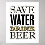 Vintage Gold SAVE WATER DRINK BEER Sign Print