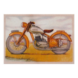 Vintage Gold Socovel Motorcycle Print