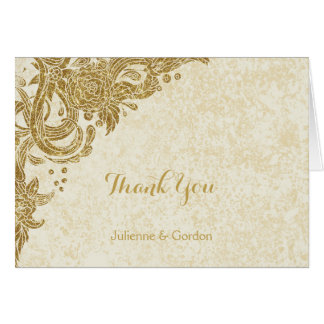 Vintage Gold Sparkles Roses on Ivory Thank You Card