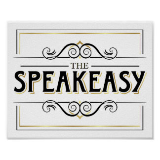 Vintage Gold SPEAKEASY Sign Print