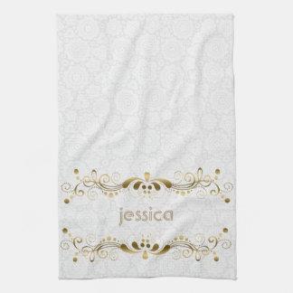 Vintage Gold Swirls Frame Kitchen Towel