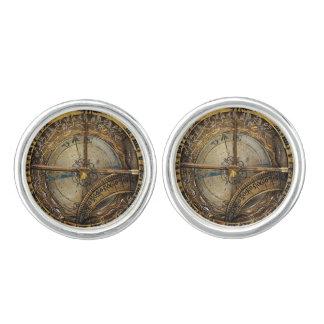 Vintage Golden Brass Compass image Cuff Links