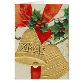 Vintage Golden Christmas Bells and Holly Card