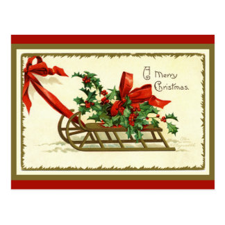 Vintage Golden Christmas Sleigh Postcard