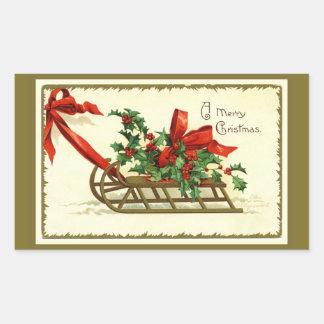 Vintage Golden Christmas Sleigh Sticker