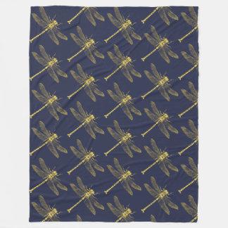 Vintage Golden Dragonfly Fleece Blanket