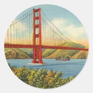 Vintage Golden Gate Bridge San Francisco Travel Classic Round Sticker