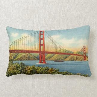 Vintage Golden Gate Bridge San Francisco Travel Lumbar Pillow