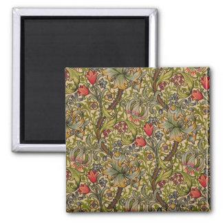 Vintage Golden Lilly Floral Design Square Magnet