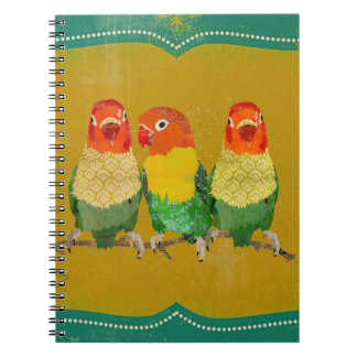 Vintage Golden Love Birds Notebook