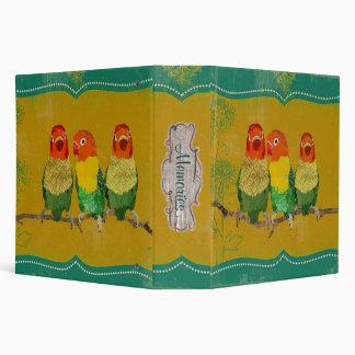 Vintage Golden Love Birds Portfolio Binder