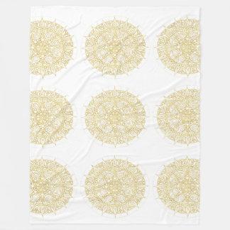 Vintage Golden Mandala with textured classic Fleece Blanket