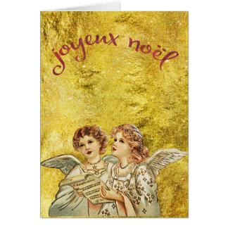 Vintage Golden Singing Angels Joyeux Noel Card