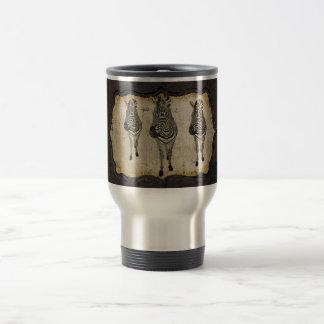 Vintage Golden White Zebras Travel Mug