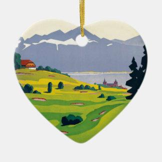 Vintage Golf Lausanne City Lake Switzerland Ceramic Heart Ornament