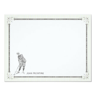 Vintage Golf Personalized Flat Note Cards - Man