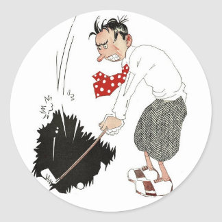 Vintage Golf Sports Humor, Funny Silly Golfer Classic Round Sticker