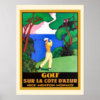 Vintage Golf Sur La Cote d Azure Poster