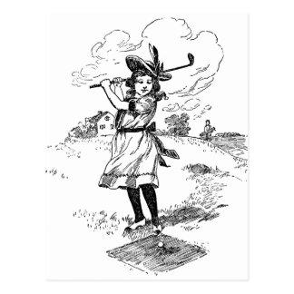 Vintage Golfer Girl Postcard
