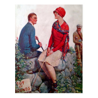 Vintage Golfers Out of Bounds Postcard