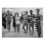 Vintage goofy men in bathing suits with woman