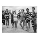 Vintage goofy men in bathing suits with woman postcard