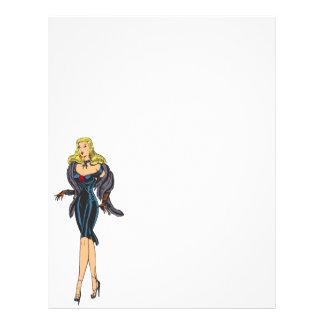Vintage Gorgeous Glamor Girl Retro Blonde Pinup Full Color Flyer