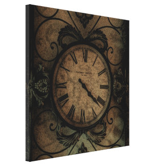 Vintage Gothic Antique Wall Clock Steampunk Canvas Print