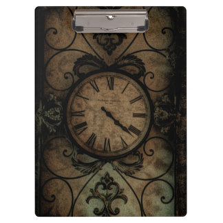 Vintage Gothic Antique Wall Clock Steampunk Clipboard