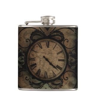 Vintage Gothic Antique Wall Clock Steampunk Hip Flask