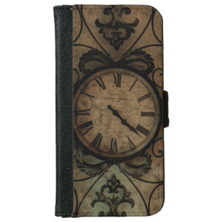Vintage Gothic Antique Wall Clock Steampunk iPhone 6 Wallet Case
