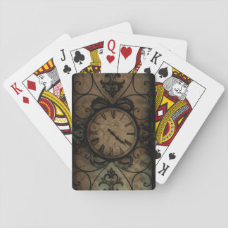 Vintage Gothic Antique Wall Clock Steampunk Playing Cards