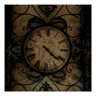 Vintage Gothic Antique Wall Clock Steampunk Poster