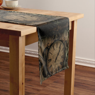 Vintage Gothic Antique Wall Clock Steampunk Short Table Runner