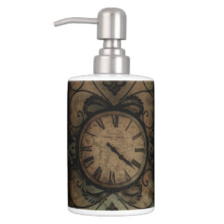 Vintage Gothic Antique Wall Clock Steampunk Soap Dispenser And Toothbrush Holder