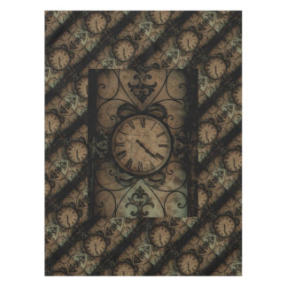 Vintage Gothic Antique Wall Clock Steampunk Tablecloth