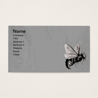 Vintage Gothic Bees Skull Wings Gray Business Card