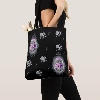 Vintage Gothic Cameo Rose Tote Bag