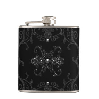 Vintage Gothic Elegance Jewels Hip Flask