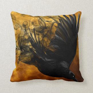 Vintage Gothic Halloween Large Black Raven Bird Throw Pillow
