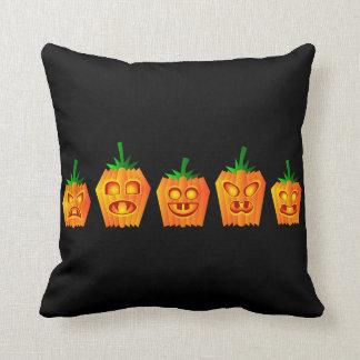 Vintage Gothic Halloween Pumpkins Throw Pillow