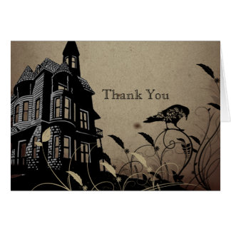 Vintage Gothic House Anniversary Thank You Greeting Card