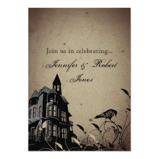 Vintage Gothic House Wedding Anniversary Card