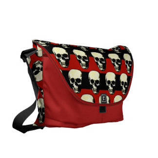 Vintage Gothic  punk skulls on red  black stripes Commuter Bag