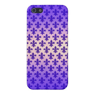 Vintage gradient blue fleur de lis pattern case for iPhone 5/5S